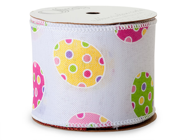 """Easter Eggs White Wired Ribbon 2-1/2"""" x 10 yards"""