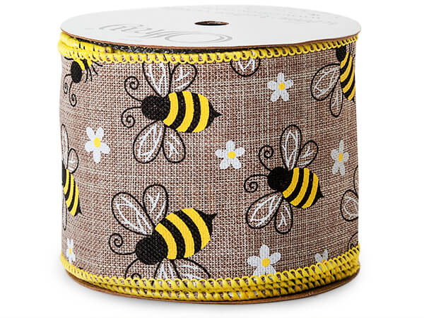 "Honey Bee Natural Wired Ribbon 2-1/2"" x 10 yards"
