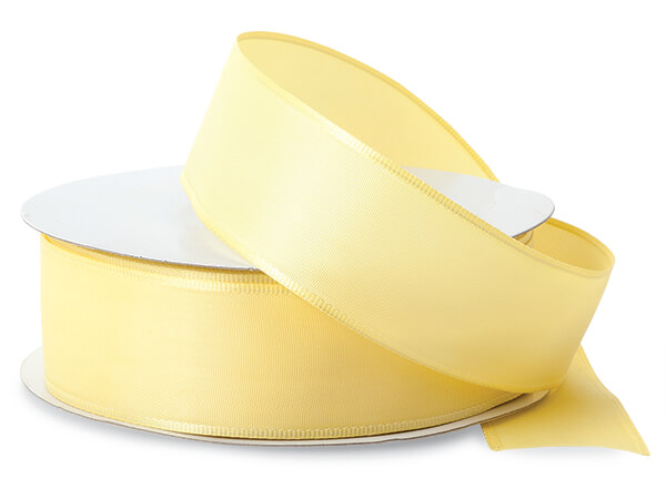 "Pale Yellow Wired Fabric Florist Ribbon, 1-1/2""x50 yards"