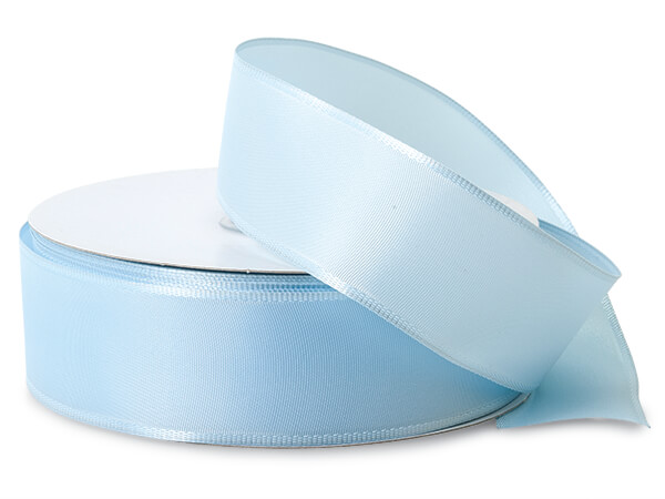 "Light Blue Wired Fabric Florist Ribbon, 1-1/2""x50 yards"