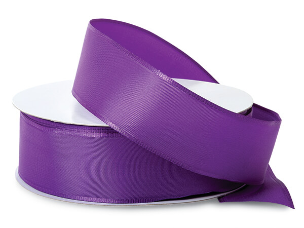 "Purple Wired Fabric Florist Ribbon, 1-1/2""x50 yards"