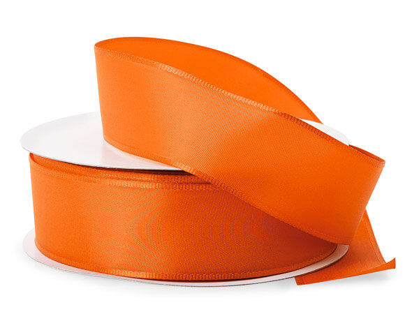 "Orange Wired Fabric Florist Ribbon, 1-1/2""x50 yards"
