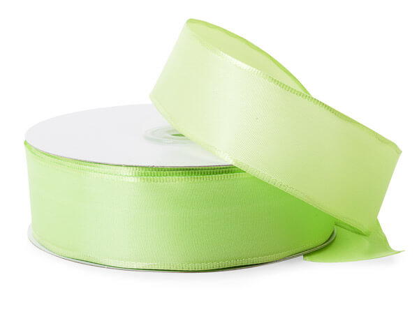 "Lime Green Wired Fabric Florist Ribbon, 1-1/2""x50 yards"