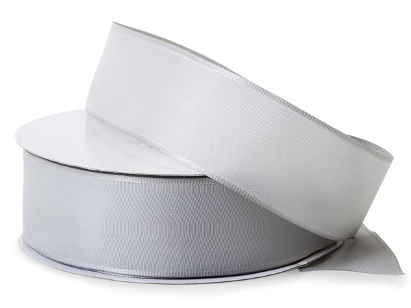 """Silver Wired Fabric Florist Ribbon, 1-1/2""""x50 yards"""