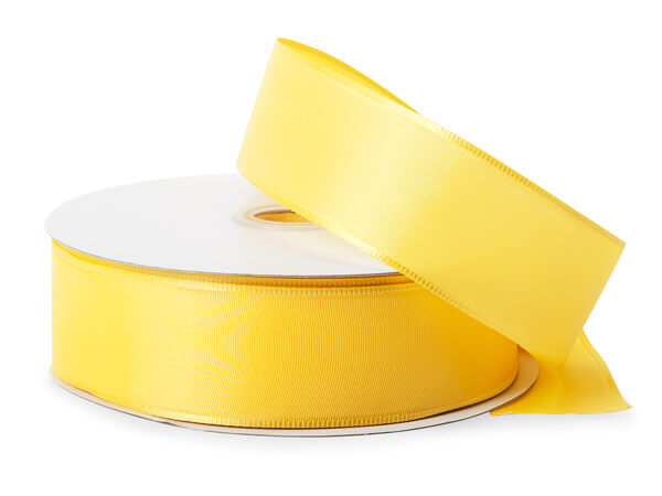 "Bright Yellow Wired Fabric Florist Ribbon, 1-1/2""x50 yards"