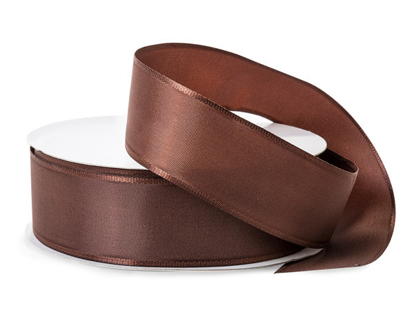 "Dark Brown Wired Fabric Florist Ribbon, 1-1/2""x50 yards"