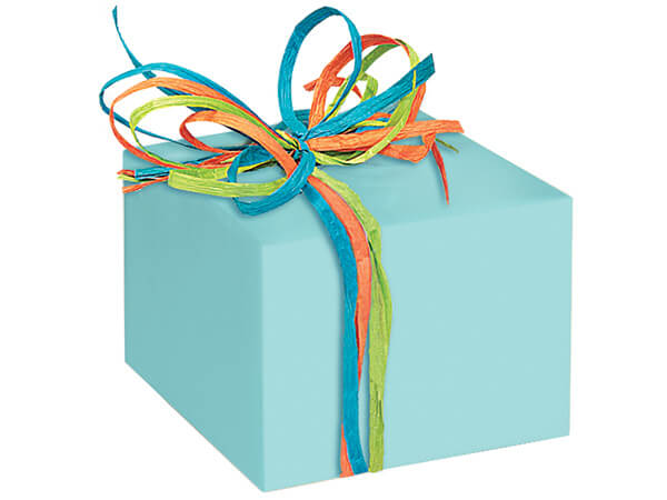 "Aqua Blue Gloss 24""x417' Roll Gift Wrap"