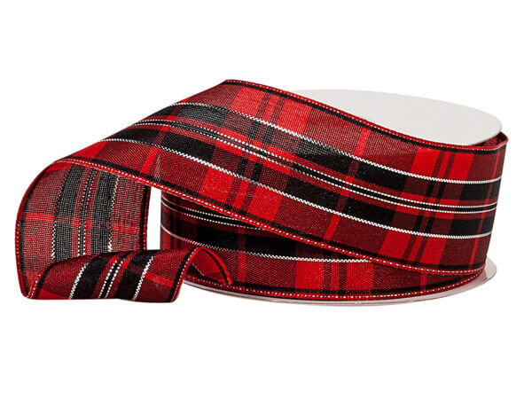 """Red and Black Plaid Ribbon with Silver Accents, 1-1/2""""x10 yards"""