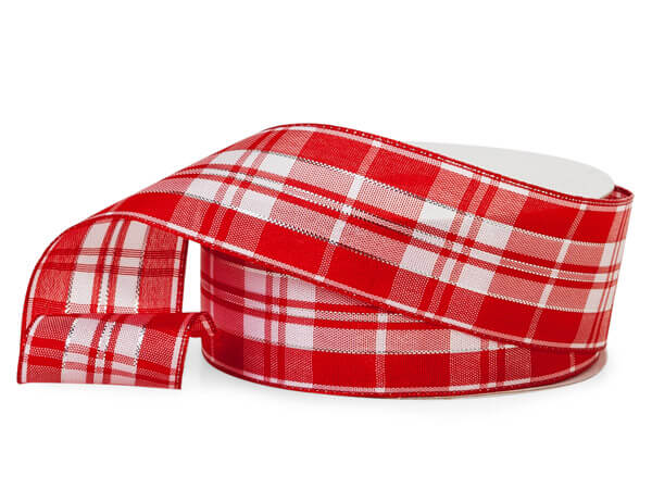 Red and White Plaid Ribbon