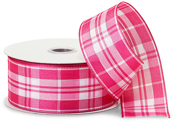 "Pink and White Plaid Ribbon with Silver Accents, 1-1/2""x10 yards"