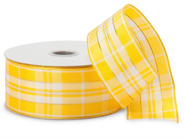 Yellow and White Plaid Ribbon