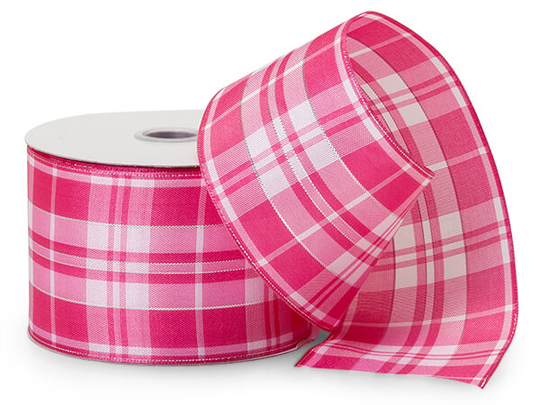 Pink/White Plaid Ribbon with Silver Accents
