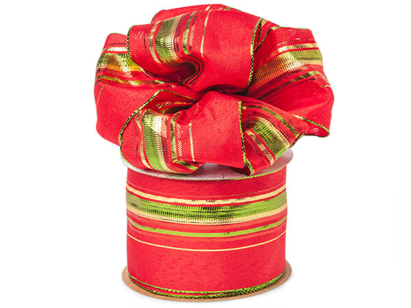 "*Metallic Christmas Stripes on Red Wired Ribbon, 2-1/2"" x 50 yards"