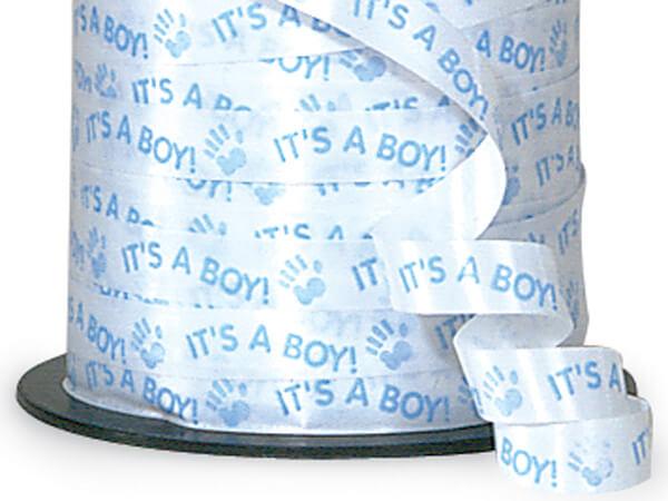 "It's A Boy Blue Curling Ribbon 3/8""x250 yds 100% Polypropylene"