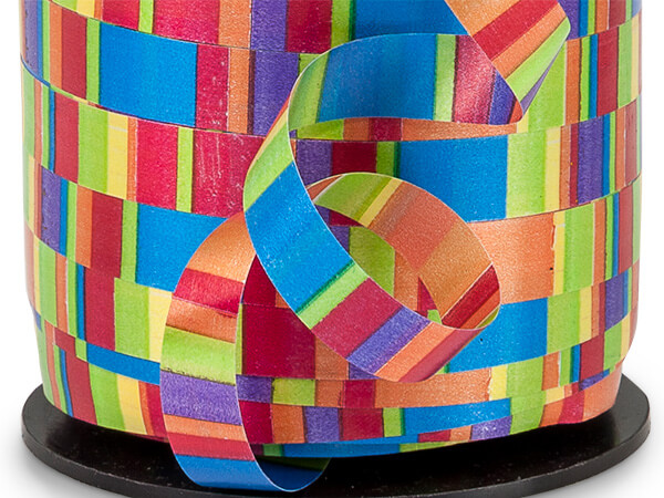 "Rainbow Stripes Curling Ribbon 3/8""x250 yds 100% Polypropylene"