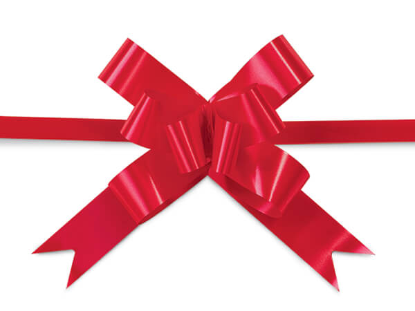 """2"""" Hot Red Butterfly Pull Bows 100 Pack"""