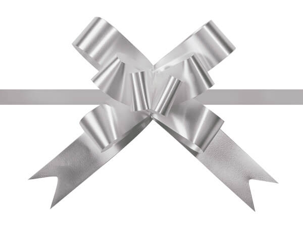 """2"""" Silver Butterfly Pull Bows, 100 Pack"""