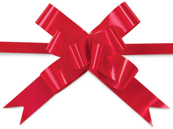 """4"""" Hot Red Butterfly Pull Bows 100 Pack"""