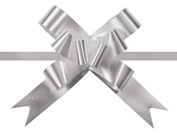 """4"""" Silver Butterfly Pull Bows, 100 Pack"""