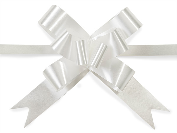 "4"" White Butterfly Pull Bows, 100 Pack"