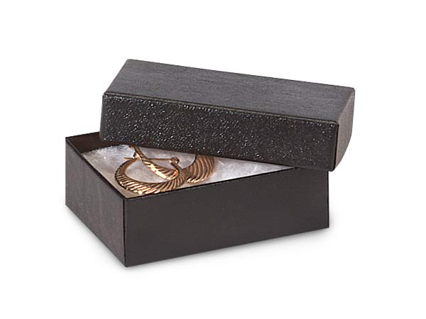"Black Embossed Jewelry Gift Boxes, 2x1.5x.5"", 100 Pack, Cotton Fill"