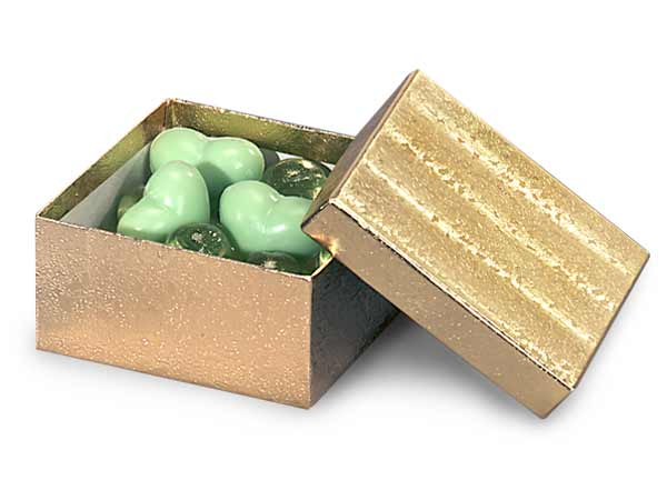 "Gold Embossed Foil Jewelry Boxes, 2x1.5x.5"", 100 Pack, Cotton Fill"