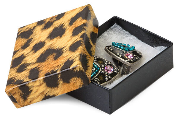 "Leopard Print Jewelry Gift Boxes, 2x1.5x.5"", 100 Pack, Cotton Fill"
