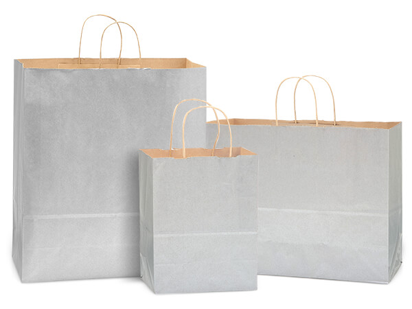 Metallic Silver Recycled Kraft Bag Assortment 300 Pack