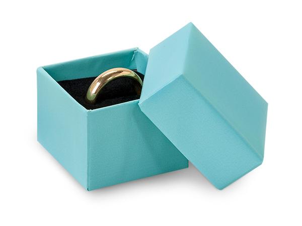 """Aqua Blue Ring Boxes, 1.5x1.5x1.25"""", 100 pack, Insert"""