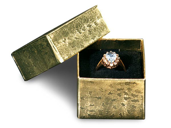 """Gold Foil Ring Jewelry Boxes 1-5/8x1-5/8x1-1/4""""  Black  Insert"""