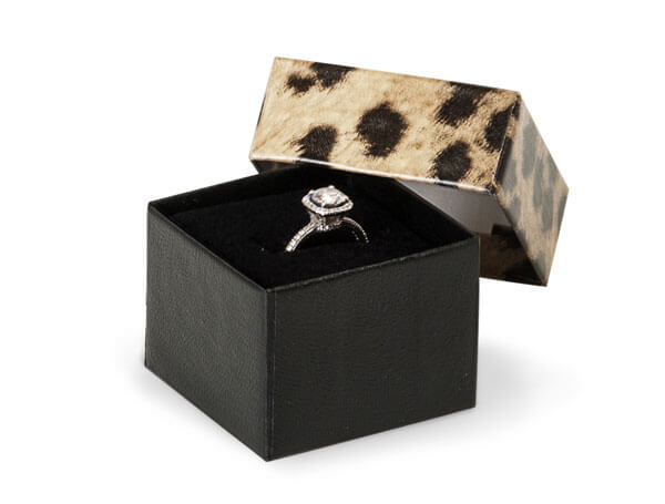"Leopard Print Jewelry Gift Boxes, 1.5x1.5x1.25"", 100 pack, Insert"