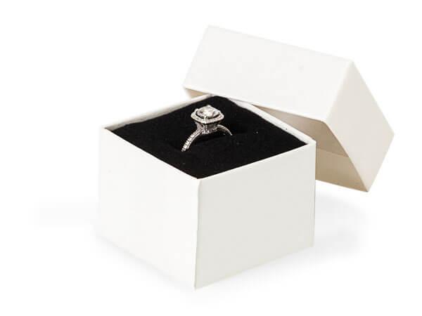 "White Embossed Swirl Ring Boxes 1-5/8x1-5/8x1-1/4""  Black  Insert"
