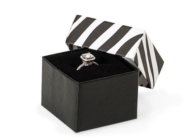 "Zebra Ring Jewelry Boxes, 1.5x1.5x1.25"", 100 pack, Insert"