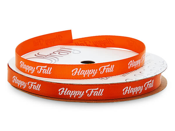 "White Happy Fall on Orange Satin Ribbon, 3/8""x10 yards"