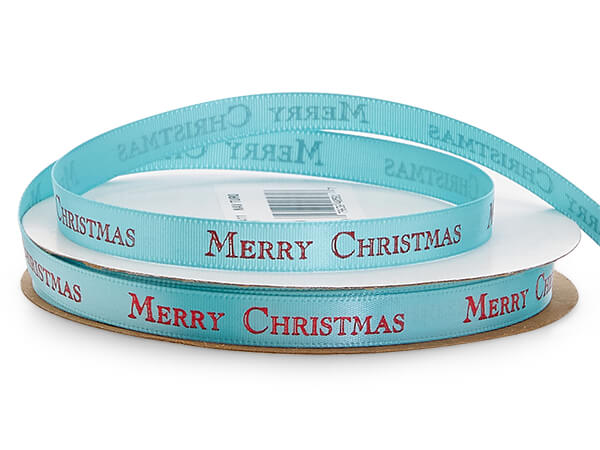 """Red Merry Christmas on Turquoise Satin Ribbon, 3/8"""" x 10 yards"""