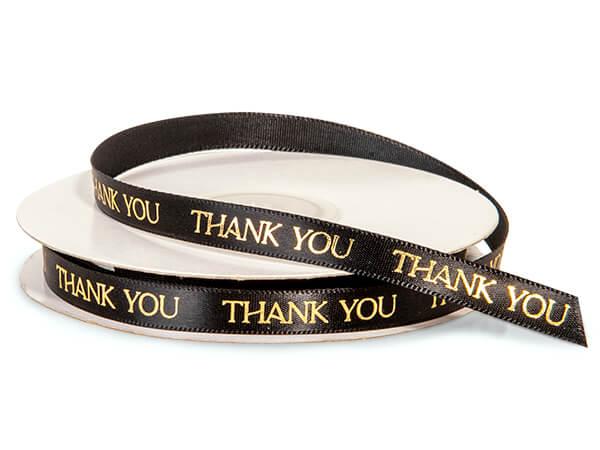 "Gold Thank You on Black Satin Ribbon, 3/8""x10 yards"