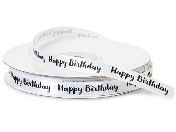 """Black Happy Birthday on White Satin Ribbon, 3/8""""x10 yards"""