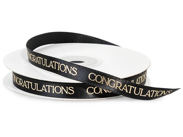 "Gold Congratulations on Black Satin Ribbon, 3/8""x10 yards"