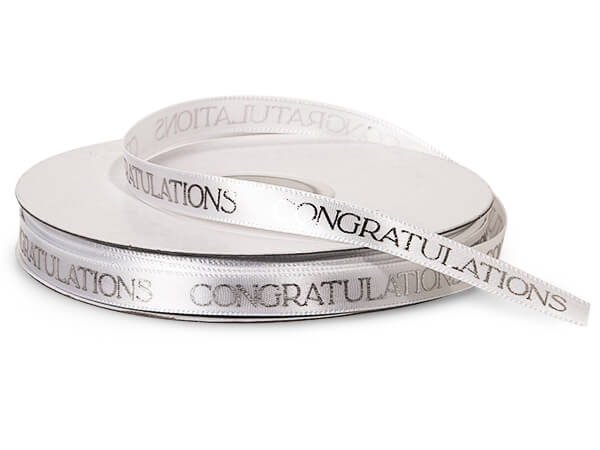 "Silver Congratulations on White Satin Ribbon, 3/8""x10 yards"