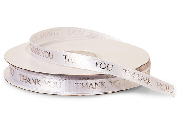 "Silver Thank You on White Satin Ribbon, 3/8""x10 yards"