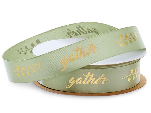 "Gold Gather on Moss Green Satin Ribbon, 7/8""x10 yards"
