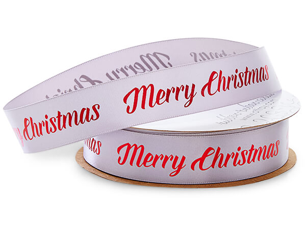 """Red Merry Christmas on Silver Satin Ribbon, 7/8""""x10 yards"""