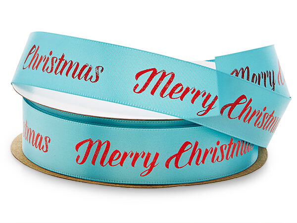 """Red Merry Christmas on Turquoise Satin Ribbon, 7/8"""" x 10 yards"""