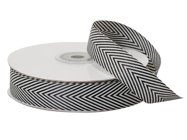 "Black and White Herringbone Ribbon, 3/4""x25 yards"