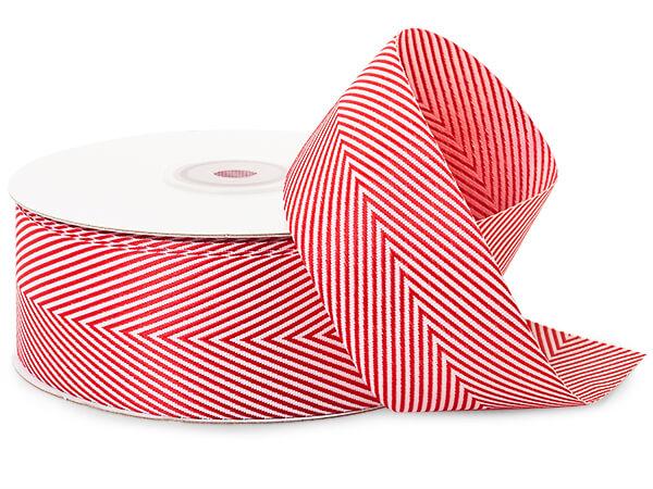 """Red and White Herringbone Ribbon, 1-1/2""""x25 yards"""