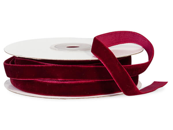 "Burgundy Velvet ribbon 3/8"" x 10 yds"