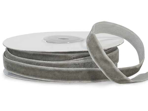 "*Silver Gray Velvet Ribbon, 3/8""x10 yards"