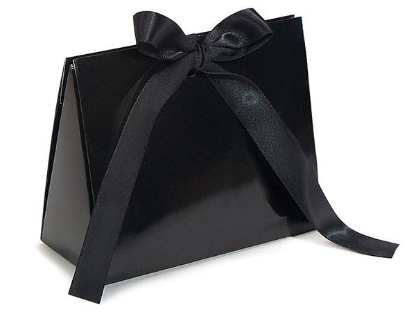 "Black Gloss Purse Tote Gift Bags, Small 4.5x2x3.75"""