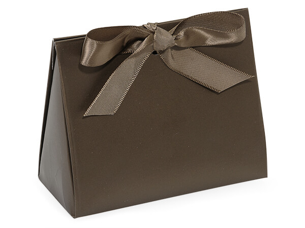 Dark Chocolate Matte Purse Tote Gift Bags, Small 4.5x2x3.75""