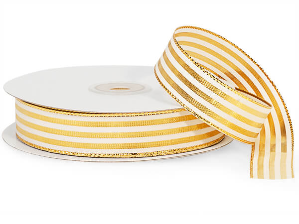 "Metallic Gold and White Striped Cabana Ribbon, 7/8""x25 yards"
